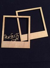 "Set Of 2 Wooden Mini frame ""Perfect Day "" EMBELLISHMENT Craft Card Scrapbook Art"