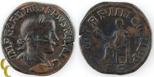 "241 AD Gordian III AE Sestertius (VF Apollo Seated ""PM TRP IIII COS II PP SC"""
