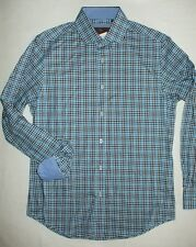 NWT Mens JAMES TATTERSALL Woven Cotton Teal Check Sport Shirt Long Sleeve Medium