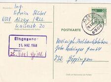 Germany 1968 20pf Postal Card Alzey-Goppingen Vgc