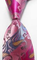 New Classic Striped Paisley Pink Blue JACQUARD WOVEN Silk Men's Tie Necktie