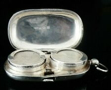 More details for antique sterling silver double sovereign holder case, william hair haseler 1911