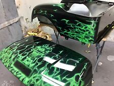 EZ GO Txt Golf Cart Body... Monster Green Fire W Skull w a Green Pearl