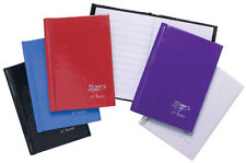 A7 Hardback Casebound Notebook 160 Pages White Feint Ruled Black/blue/purple/red Random Colour X 1