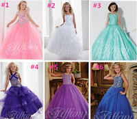 Christening Tulle Beaded Bridesmaid Prom Party Princess Birthday Ball Gown Dress