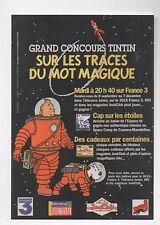 Carte postale Tintin. Concours Sur les Traces du Mot Magique. Tirage limité