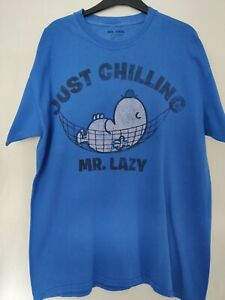 Mr Men Blue Mr Lazy T Shirt - Just Chillin - UK Men's Size L.