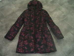 SIZE L ROMAN BLACK PINK ROSES PADDED COAT WITH HOOD