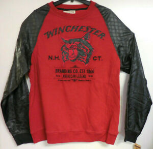 Winchester Men's Red Synthetic Leather Long Sleeve Sweatshirt Size XL