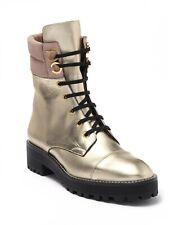 Stuart Weitzman Lexy Gold Metallic Leather Combat Lace-Up Boots 7.5 M NEW SPAIN