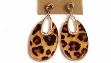 LEOPARD EARRINGS LEOPARD SPOT ANIMAL PRINT  EARRINGS OVAL PIERCED 2.75 INCH LONG
