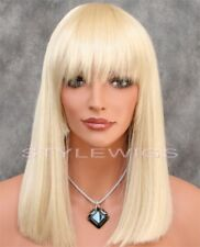 Light Blonde Shoulder Length Flat Straight Full Synthetic Wig Hairpiece SADC 613