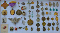 62 LOT Vintage Antique Catholic HOLY MEDALS + Relic Crucifix ESTATE from Canada