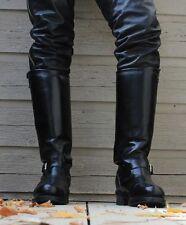 Botas para hombre ingeniero pesado hebilla de combate occidental de cuero negro Botas de motorista UK 5-12
