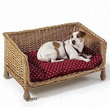 WICKER LIBERTINE HONEY  DOG CAT PET BED  WITH POLKA DOT CUSHION