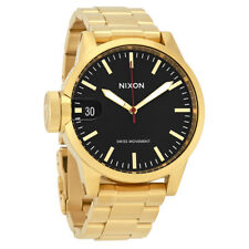 Nixon The Chronicle 44 Black Dial Mens Gold Tone Watch A441510