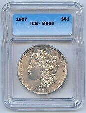 High Grade 1887 $1 Morgan Silver Dollar. ICG Graded MS 65. Lot #2509