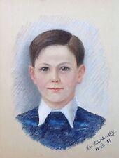 VERA DE LANDCHEVSKY  RUSSE PASTEL ORIGINAL PORTRAIT JEUNE HOMME 1956 / 2