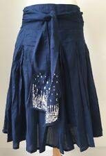 Cotton Party Skirt By VILA Size 12 Label M Blue Pleated With Sequins On Belt