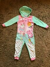 George Peppa Pig Girls Kids Infants One Piece Hooded PJ's (Green) Ages 2-3 Years
