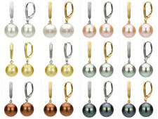 Women's 8/10/12/14/16mm Akoya South Sea Shell Pearl Dangle Leverback Earrings AA