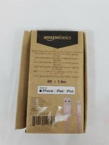 NEW AmazonBasics Braided USB Lightning Cable For Apple iPhone Rose Gold 6ft
