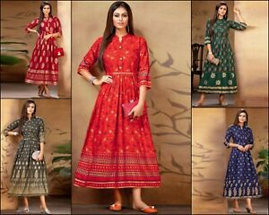 Amazing Indian Wear New Traditional Long Kurti Gown With Beautiful Foil Print DC