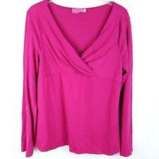 Liz Lange Maternity Pink Top Womens L Large Long Sleeve V Neck Stretch