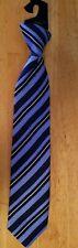 New Van Heusen Boys Silk Tie Bold Shades Of Blue Stripes 14 inch x 2 3/4 inch