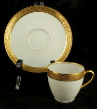 Antique Charles Ahrenfeldt Limoges White Gold Porcelain Teacup & Saucer France