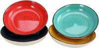 """Gibson Home Speckled Pasta Bowl 4 Set Stoneware 10.75"""" Red Yellow Blue Turquoise"""