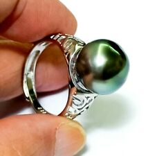 Massive Peacock Gray Green 12.4mm Tahitian South Sea Round Pearl Ring Size 8-9