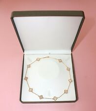 Lucky clover 10 motifs mother of pearl/black onyx necklace