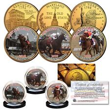 JUSTIFY 2018 TRIPLE CROWN WINNER 24KT GOLD QUARTERS 3 COIN SET W/H COA & STANDS!