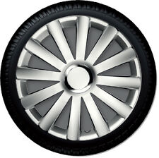 """4 Copricerchi auto universali coppa ruota 15"""" borchie Gorecki Spyder pro silver"""