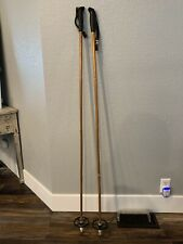 "Vintage Bamboo Leather Strap SKI Poles 55"", Cabin Decor"