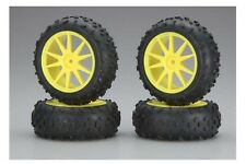 Kyosho IHTH06Y Pre-Mounted High Traction Tire / Yellow Wheel Set Mini Inferno