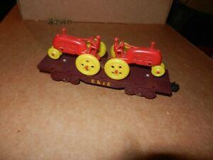 MARX Erie Flat Car w/Red Tractors, 4 Wheel,  Original