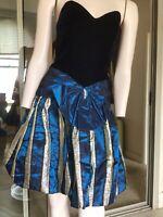 Vtg 80s Zum Zum Black Velvet Striped Bubble Skirt Dress. 8