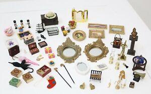 Huge Lot of Vintage Dolls House Accessories Gilt Frames Living Room Nursery Misc