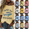 Women Sexy Print Cold Shoulder ShortSleeve T-Shirt Tops Lady Casual Loose Blouse
