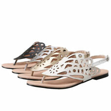 Buckle Flip Flops Synthetic Leather Shoes for Women