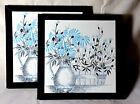 Matched Pair of Framed Beautiful Still Life Art Tiles Made in Brazil By Eliane