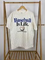 VTG 1992 Big Ball Sports Baseball Is Life Men's White Short T-Shirt Size XL USA