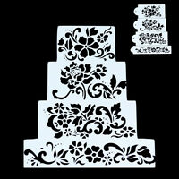 4x Cake Stencil Flower DIY Cookie Fondant Side Reusable Baking Wedding Deco. A+