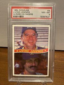 1984 Donruss Living Legends Rollie Fingers Gaylord Perry PSA 8 Milwaukee Brewers