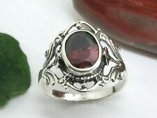 Schöner Jugendstil Silber Ring 925 Zirkonia rot Blumen Ornament Damenring