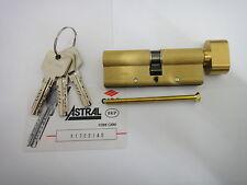 CISA ASTRAL ANTI-SNAP EURO THUMBTURN CYLINDER & REGISTRATION CARD 45/50 - BRASS