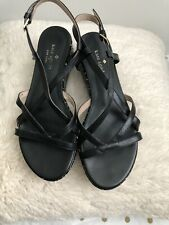 Kate Spade Women's $160 Strappy Wedge Sandals Size 6.5 Black