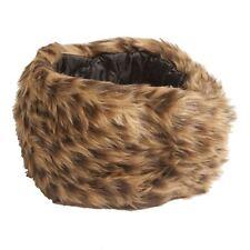 Ladies Winter Warm Faux Fur Leopard Print Headband in Brown